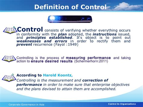 controlling definition control in organization corporate governance
