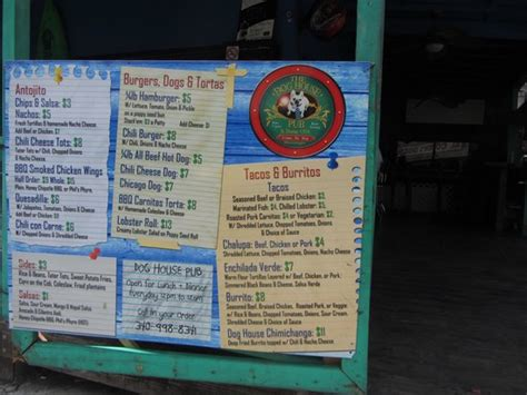 dog house restaurant menu menu picture of dog house pub st thomas tripadvisor