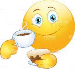 smiley kuchen emoticon trinkt kaffee und kuchen vektor illustration