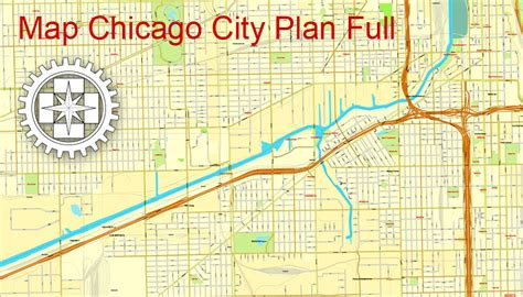 chicago zip code map 2016 chicago il us printable city plan map adobe illustrator