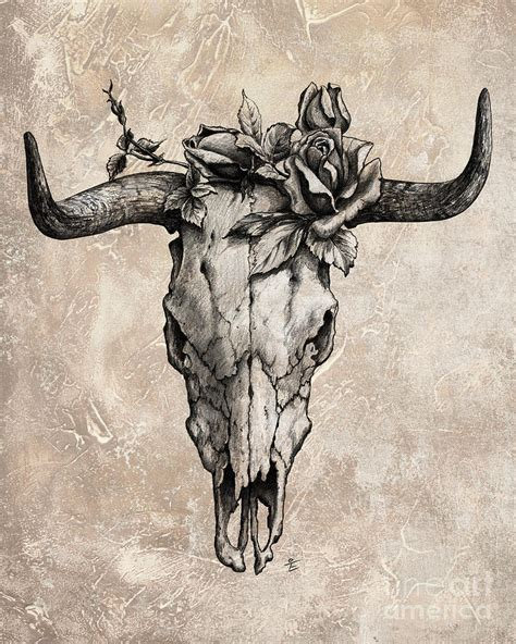 bull skull and rose by emerico imre toth royalty free