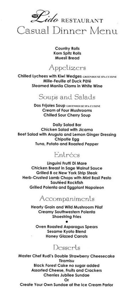 dinner menus for 12 cruise ship dining menus america lido restaurant