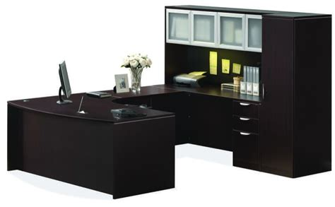 U Desk Office Furniture Ndi Pl4 Office Suite 71 Bow Front U Desk With Credenza Hutch And Wardrobe 5 Colors New