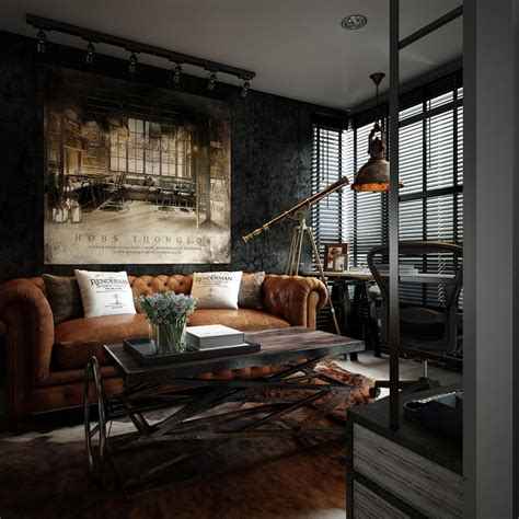 industrial interiors three dark colored loft apartments with exposed brick walls