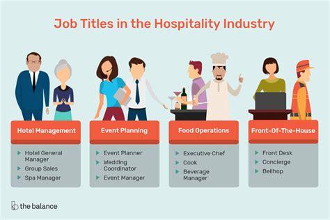 hospitality careers options job titles  descriptions