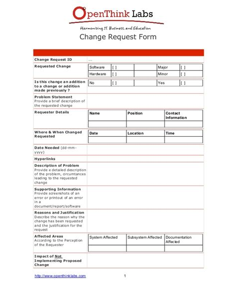 change request form template software development change request template