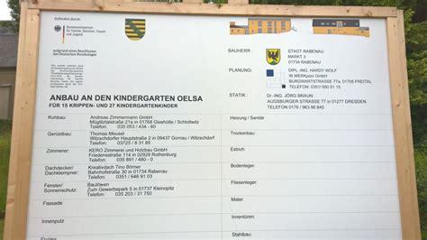 Bauschild Freistaat Sachsen anbau an den kindergarten oelsa rabenau in sachsen