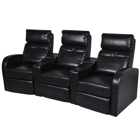 Artificial Leather Home Cinema Recliner Reclining Sofa 3 Black Reclining Leather Sofa