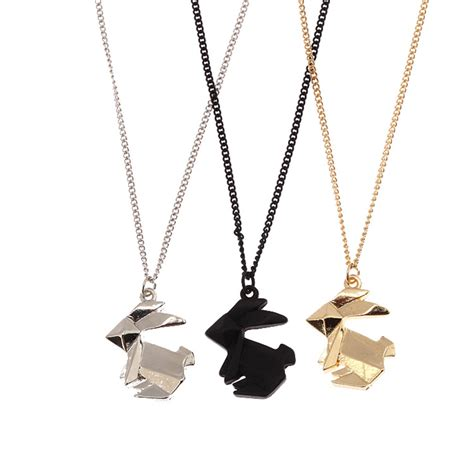 Origami Rabbit Necklace - origami animal pendant necklace simple alloy