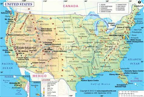 united states map with key cities map of usa showing point of interest major cities