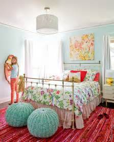 Aqua and pink bedroom designed by emily henderson