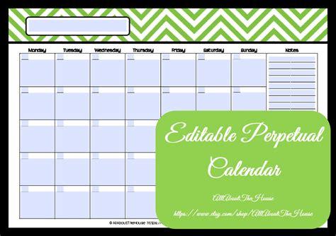 Editable Printable Calendar Perpetual Calendar Chevron Editable Calendar Template