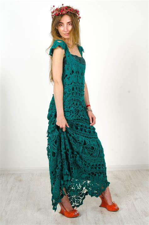 Handmade Maxi Dresses - crochet maxi dress handmade maxi dress crochet emerald lacy