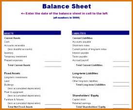 Balance Sheet Format by 8 Balance Sheet Template Itinerary Template Sle