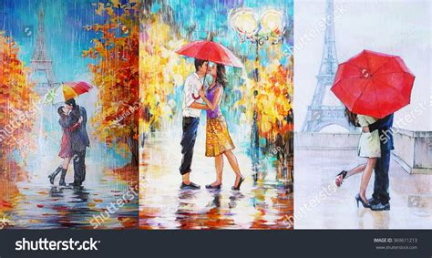 Collage 3in1 painting pair umbrella stock illustration 369611213