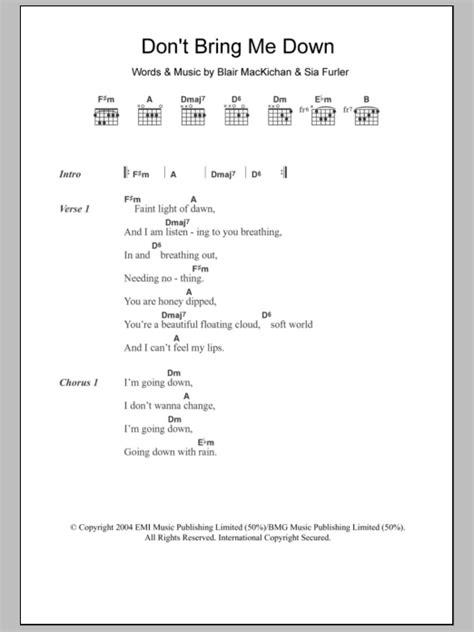 Don't Bring Me Down Sheet Music | Sia | Lyrics & Chords