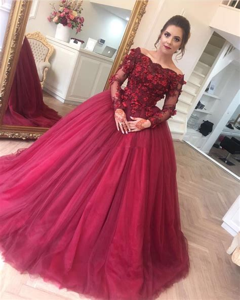Vneda Longsleeve Shirt Maroon by Sleeves Prom Dress Gowns Prom Dress Burgundy