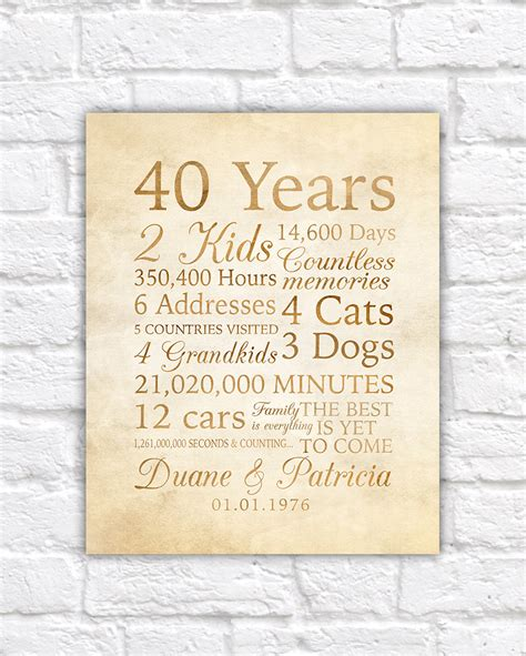 wedding anniversary quotes 40 years 40 year anniversary 40th anniversary gift for parents