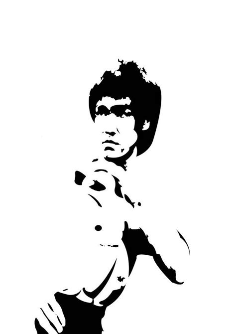 black actor action film black and white vector image of bruce lee in photoshop