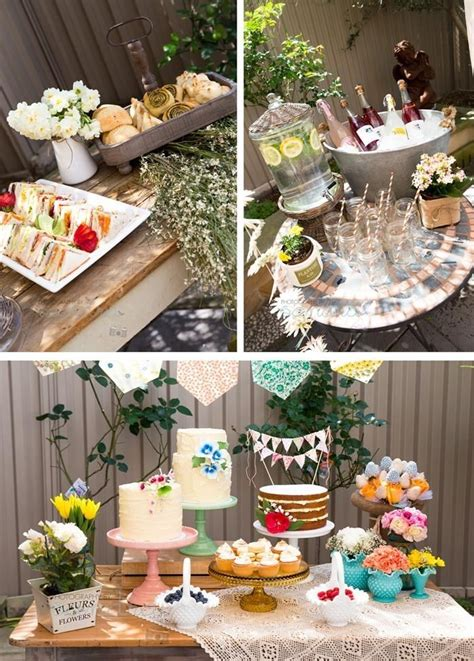 garden baby shower theme party food outdoors flowers sweets cake baby garden flags dessert