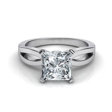 Cut Engagement Rings by Split Shank Princess Cut Solitaire Engagement Ring