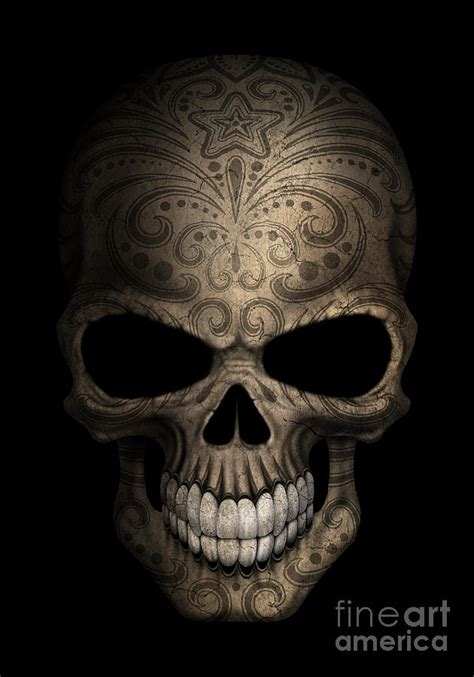 dark day of the dead sugar skull digital art by jeff bartels