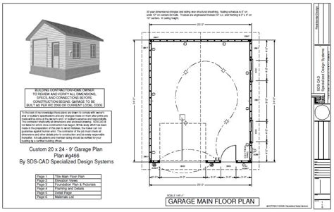 garage building plans plan g446 custom 20 x 24 9 garage blueprint free