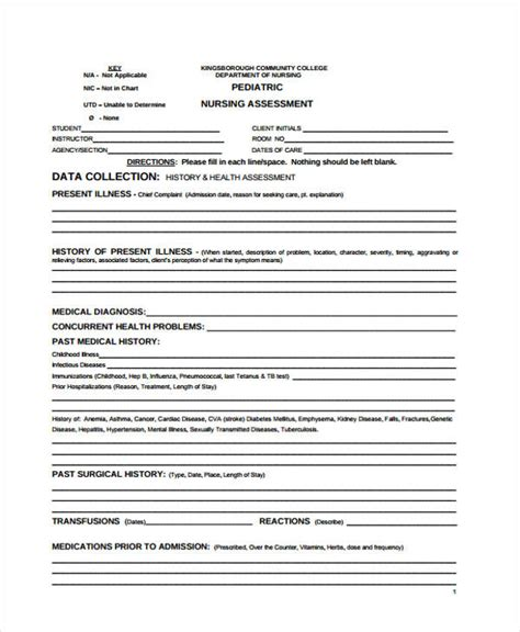 nursing assessment form nursing assessment forms critical care nursing assessment