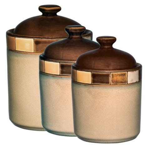 save 2 00 gibson casa estebana 3 piece canister set beige and brown 37 99