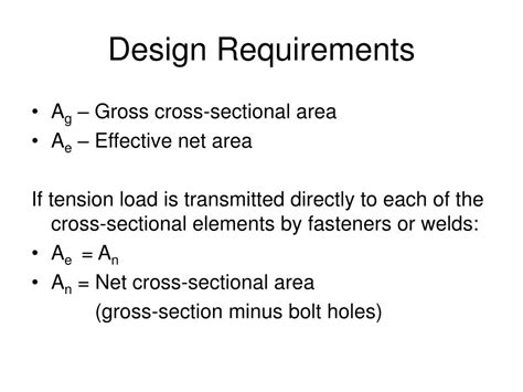 design criteria for a l ppt design of steel tension members powerpoint