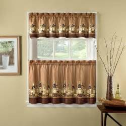 Kitchen Cafe Curtain Wine Decor Window Curtains Cafe Kitchen Curtain Valance And 24 Quot Tiers