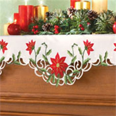 christmas poinsettia fireplace mantel scarf lighted snow icicle holiday mantel scarf from collections etc