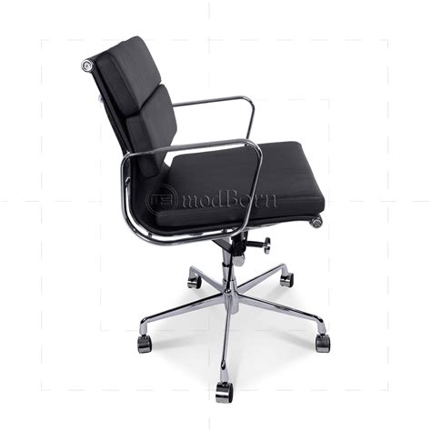 ea eames style office chair   soft pad black leather replica