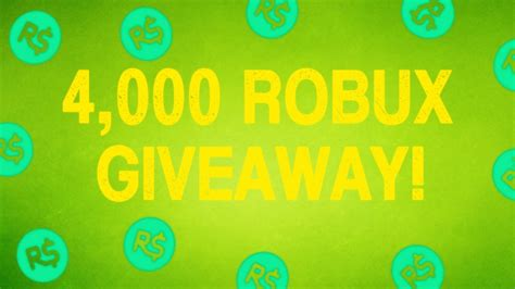 Robux Giveaway Youtube - roblox 4 000 robux giveaway ended youtube