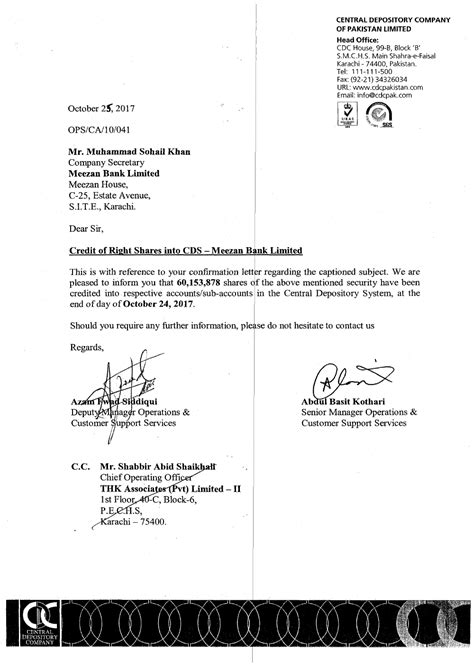 Meezan Bank Letter Of Credit credit delivery of certificates right issue