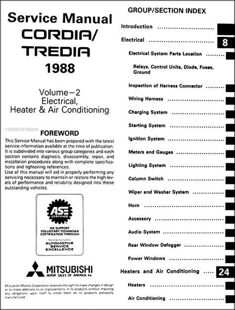 1985 mitsubishi cordia and tredia repair shop manual original 1988 mitsubishi cordia tredia repair shop manual set original
