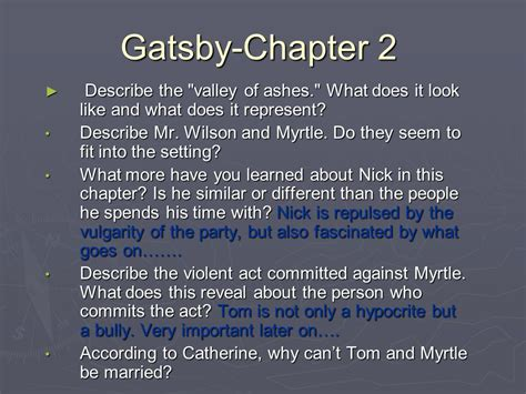 Themes Of The Great Gatsby Chapter 2 | gatsby chapter 2 describe the quot valley of ashes quot what does