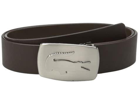 lacoste spw leather belt metal croc buckle plate in brown