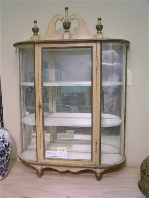 1025 wall mounted wood mirror curio cabinet small 1300094
