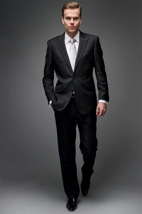 black suit white shirt silver tie entourage