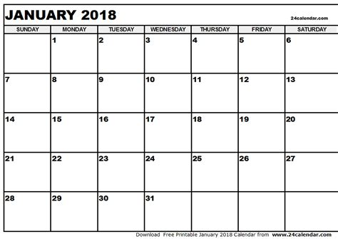 printable monthly planner january 2018 january 2018 calendar pdf calendar printable free