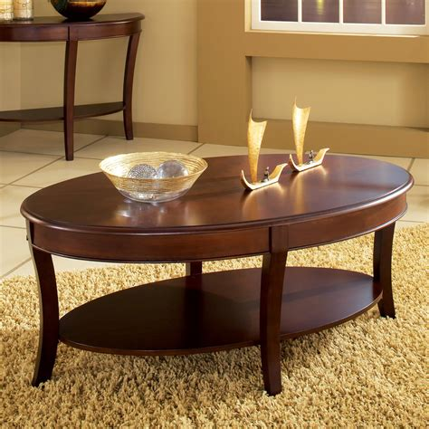 steve silver troy oval cherry wood coffee table coffee