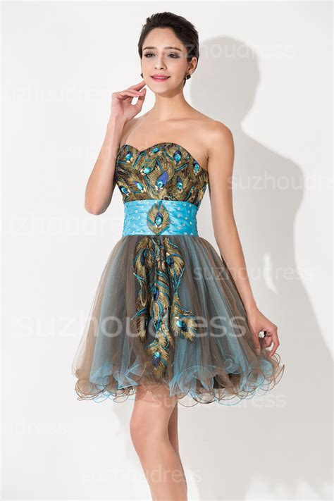 Unique Sweetheart Organza Mini Cocktail Dresses Peacock Latest Short Lace Up Homecoming Dresses