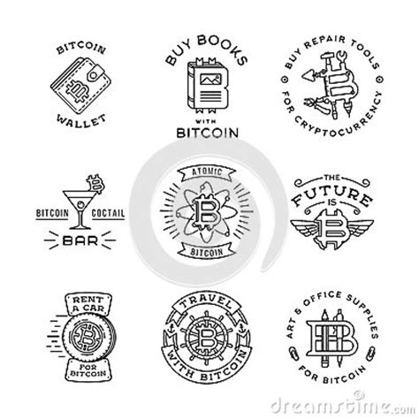 coin design template bitcoin logo templates set cryptocurrency badge stock