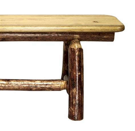 rustic log bench glacier country 72in plank bench rustic rough sawn pine