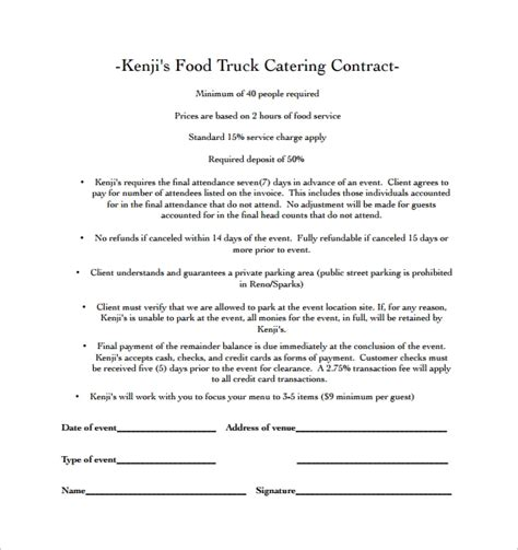 Food Contract Template Catering Contract Template 9 Download Free Documents In Word Pdf