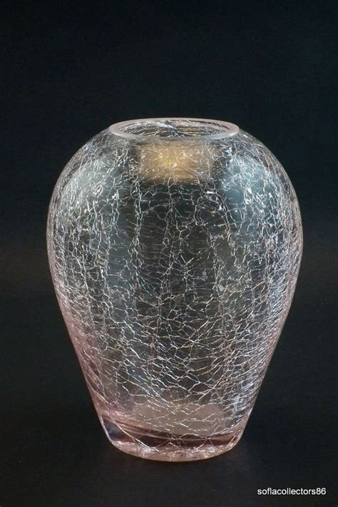 Pink Crackle Glass Vase by Mid Century Modern Pink Crackle Glass Vase