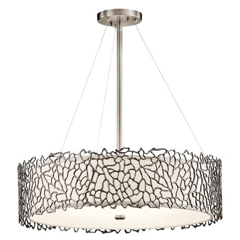 Drum Shade Pendant Light Pewter Drum Shade Hanging Ceiling Pendant Light Delicate Coral Detail