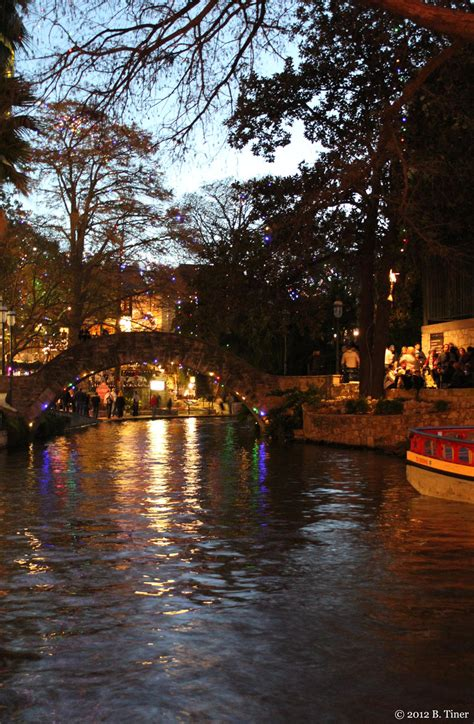 san antonio riverwalk with christmas lights by bltshop on