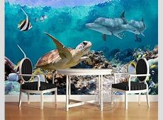 3d Wallpaper Underwater Fish Turtle Dolphin Wall Mural ... Insulator Cover